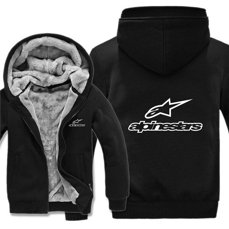 Winter Alpine Star Hoodies Mens Zipper Coat Fleece Thicken Alpine Star Biker Sweatshirt Man Pullover