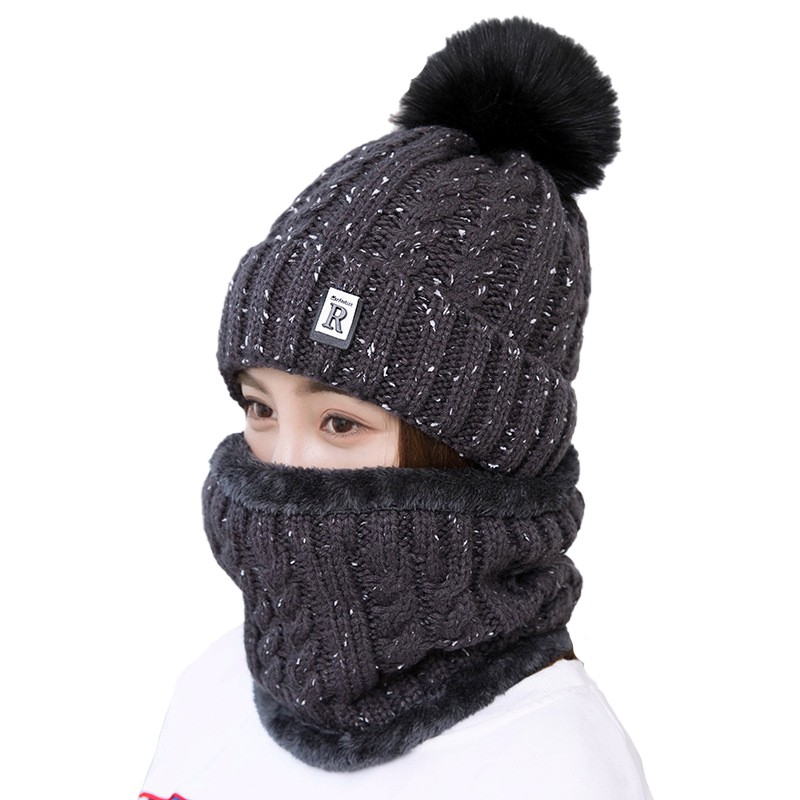 Women Knitted Beanie Solid Color Hat Pompom Winter Windproof Warm Skullies Ski Cycling Cap Scarf Set