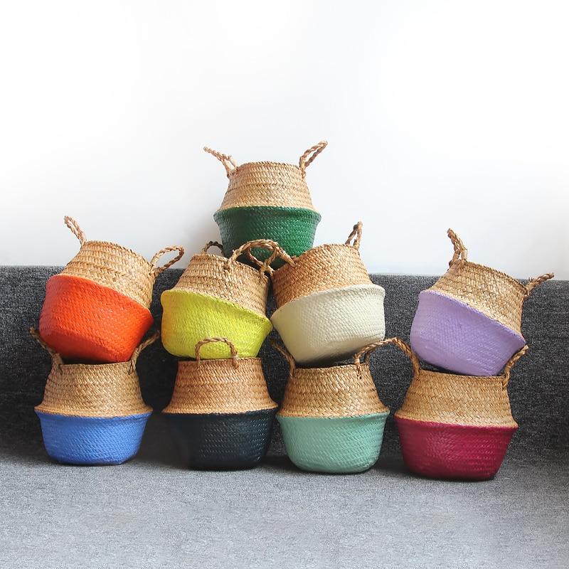Handmade Seagrass Belly Storage Basket Straw Basket Write Wicker Basket Storage Bag White Garden Flower Pot Planter Home Decor