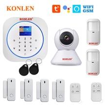 KONLEN Tuya WIFI GSM Alarm System Wireless Pir Motion Sensor Door Detector For Home Security Smart Life APP Google Alexa Support