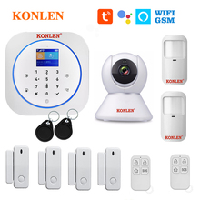 KONLEN Tuya WIFI GSM Alarm System Wireless Pir Motion Sensor Tür Detektor Für Home Security Smart Leben APP Google Alexa unterstützung