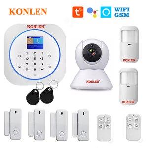 Image 1 - KONLEN Tuya WIFI GSM Alarm System Wireless Pir Motion Sensor Tür Detektor Für Home Security Smart Leben APP Google Alexa unterstützung