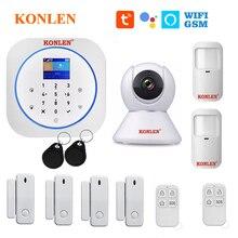 KONLEN sistema de alarma Tuya para el hogar, Detector de puerta de Sensor de Movimiento Pir inalámbrico, WIFI/GSM, aplicación Smart Life, compatible con Google Alexa