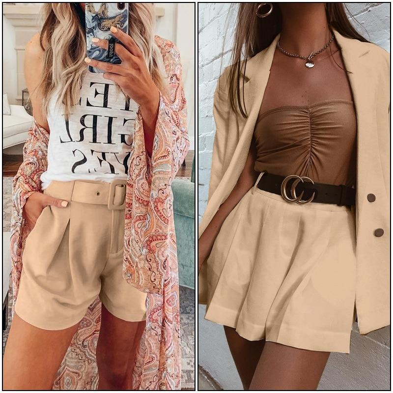 Simplee Elegant two-pieces women short suit Casual streetwear suits female blazer sets Chic 19 office ladies women blazer suit 11