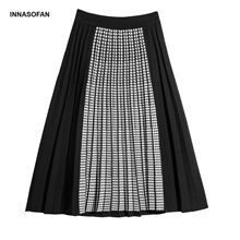 INNASOFAN трикотажные женские плиссированные юбки осенне-зимняя юбка с высокой талией модная Высококачественная шикарная юбка