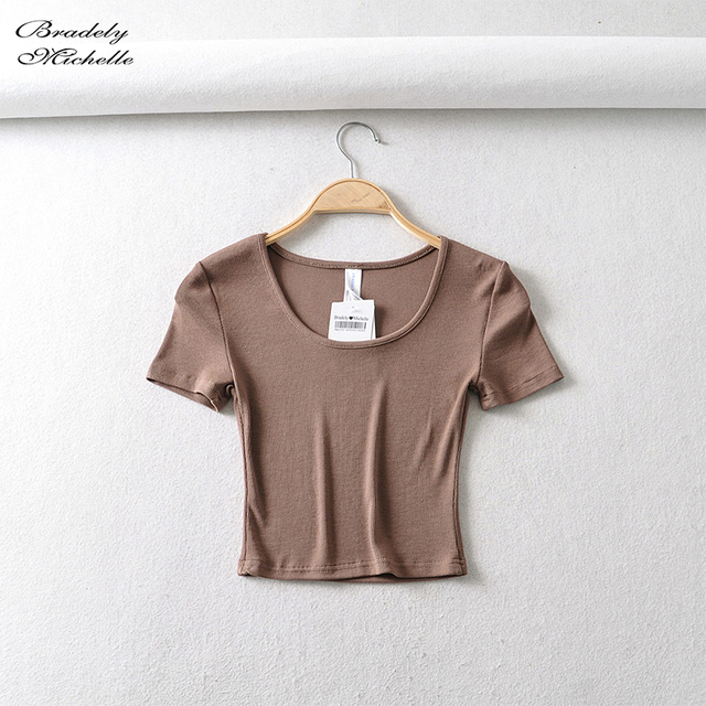 Bradely Michelle Casual Cotton New 2020 Summer Woman Slim Fit t-shirt tight Short-Sleeve O-neck tee Crop Tops 6