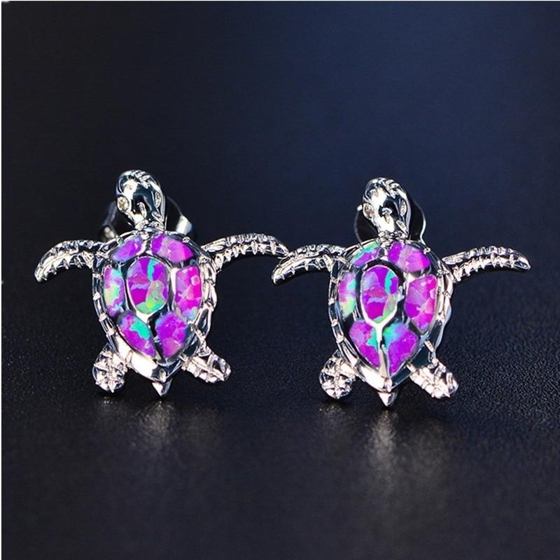 Punk Opal Stone Turtle Cute Stud Earrings Luxury Brand Earrings Jewelry Wholesale