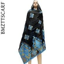 Шарф из 100% хлопка, шарф в африканском стиле для женщин мусульманок, мусульманский шарф больших размеров для шали BM730