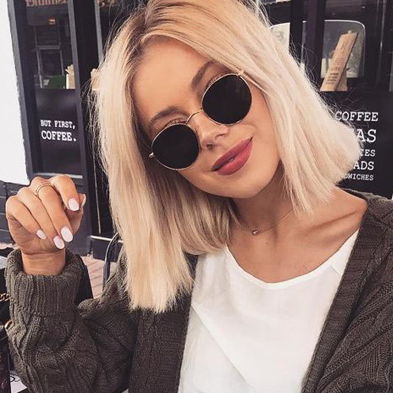Óculos de Sol Óculos de Sol para Mulher Luxo Vintage Redondo Feminino Marca Designer Pontos para Mulher Senhora Espelho 2020 Oval
