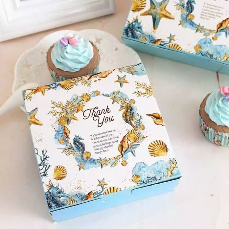 New style 12x12x4.8cm 5pcs wedding candy /cake box bule color with undersea world beautiful and chaep use 350g white paper card image