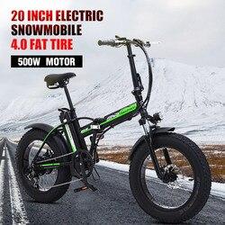 500 W Bici Elettrica 20 Pollici Moto 48 V Bicicletta Elettrica Pieghevole Bici Mountain E Bici Bicicletta Elettrica Neve Bike fat Tire