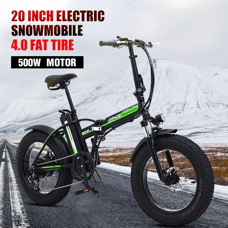 500w vélo électrique 20 pouces moto 48v vélo électrique pliant vélo de montagne e vélo vélo électrique neige vélo gros pneu