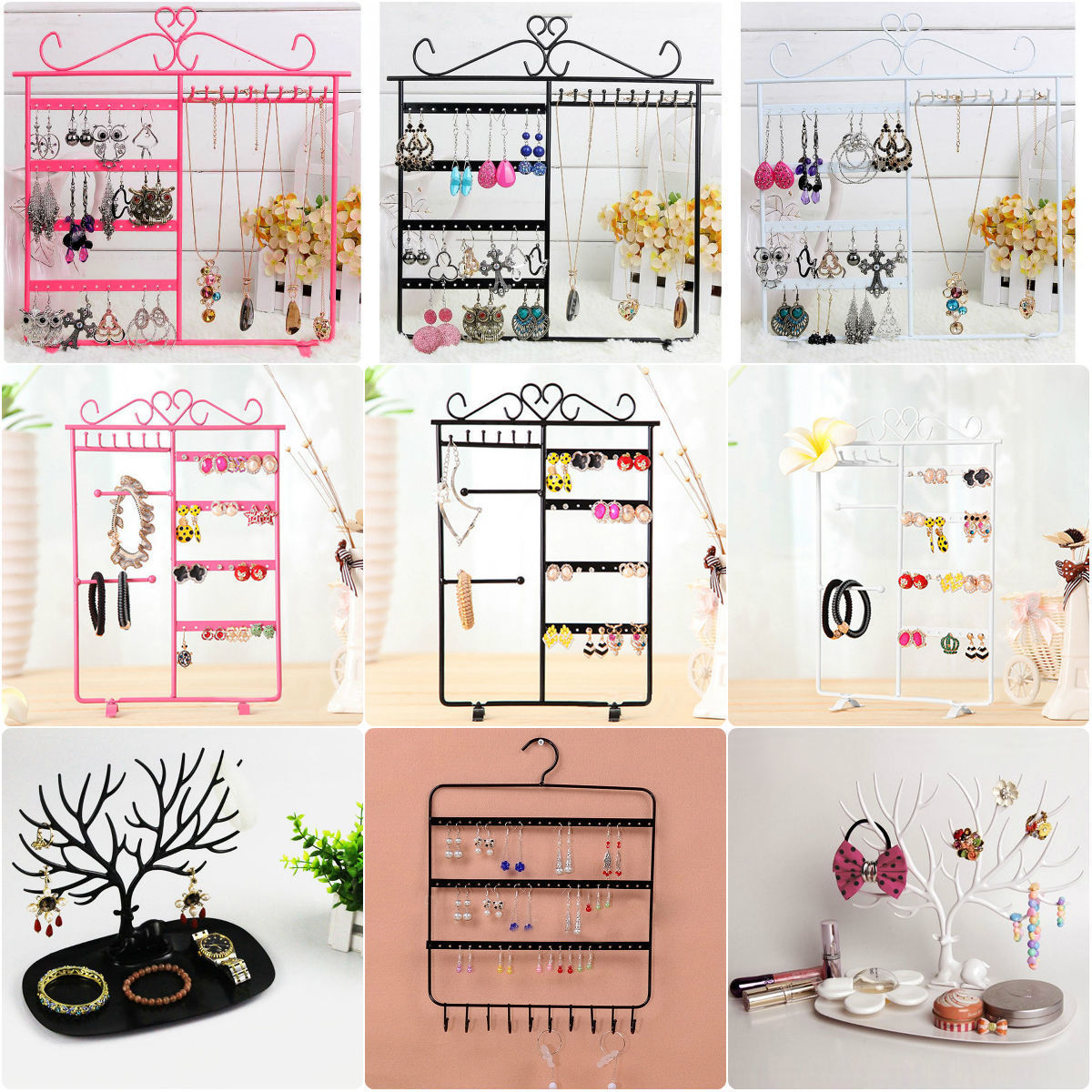 Earrings Ear Studs Necklace Chain Jewelry Display Holder Stand Organizer Rack Earring Display Necklace Display