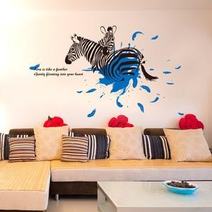 Новый стиль литературы и искусства прохладный черный и белый с рисунком Зебра стикер стены спальни гостя DAISO бизнес удаление украшения