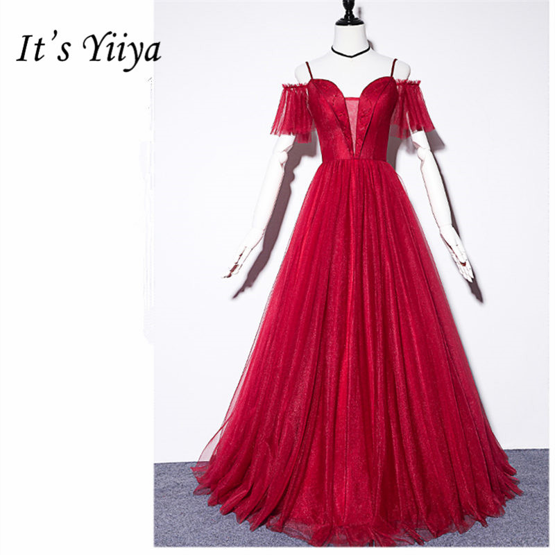 It's Yiiya Evening Dresses Boat Neck Off Shoulder Women Party Dresses A-Line Short Sleeve Floor-Length Robe De Soiree E841
