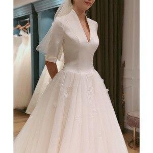 Image 3 - 2020 2020 nowa panna młoda główna przędza Hepburn wiatr sukienka francuski z długim rękawem satyna zakontraktowane pokaż cienkie Trailing Qiu Dong kobiet