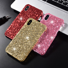 Lujo Bling brillo móvil funda para iPhone x XS Max XR 10 8 7 6 6S Plus rosa de oro negro de plata de la chica de rojo iPhone cubierta Coque