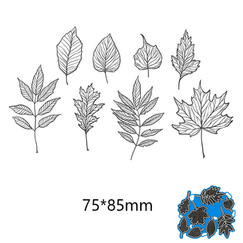 75*85mm New Metal Cutting dies 8pcs leaves Stencils for DIY Scrapbooking Paper Cards Craft Making Craft Decoration sled metal cutting dies new stencils for diy scrapbooking paper cards craft making and craft decoration 61 91mm