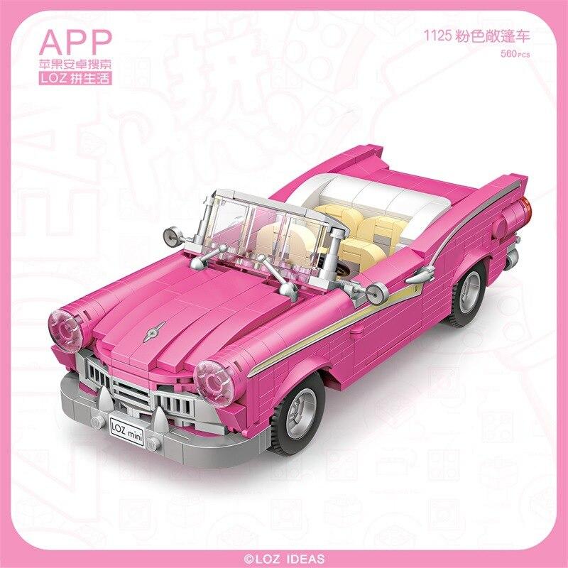 560 pçs + loz mini blocos de construção conjunto criativo carro casamento rosa esporte carro anime ação figuradores brinquedos para crianças brinqueos