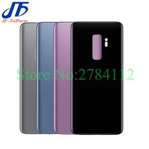 Image 1 - 10Pcs חזרה זכוכית החלפה עבור Samsung Galaxy S9 בתוספת S9 + G960F G965F סוללה כיסוי אחורי דלת שיכון מקרה