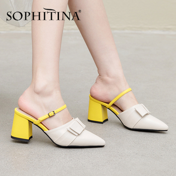 SOPHITINA Fashion Women' s Pumps Mixed Colors Butterfly-Knot Buckle Decoration High Quality Cow Leather Shoes Summer Pumps SO428