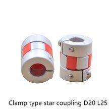 Acoplador da flor de ameixa em forma de estrela vermelha máquina de gravura do laser do acoplador da corrediça do acoplador da impressora 3d d20 l25 que aperta o tipo