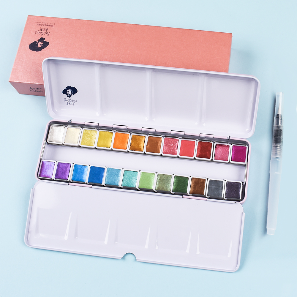 Rubens Glitter Artist Watercolor Paint 12/24 Colors Professional Metallic Sparkly Solid Pigment Portable Metal Case With Palette