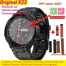K22 relógio inteligente masculino dial chamada bluetooth personalizado relógio faces despertador à prova dpk água esporte fitness smartwatch pk w56 l15
