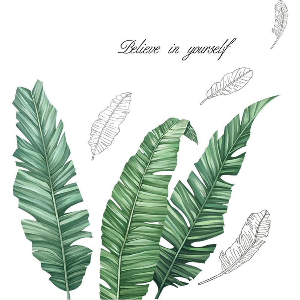 Stiker Dinding Pisang Palm Bulu Sastra Tanaman Gaya Modern Dekorasi Ruang Tamu Kamar Tidur Latar Belakang Nortic Mural Seni Poster