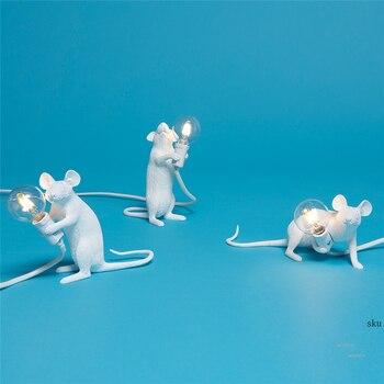 נורדי איטלקי שרף עכברוש שולחן מנורת חדר שינה ליד מיטת עכבר מנורת חתונת דקו שולחן אור סלון תאורת מנורות שולחן מתקן