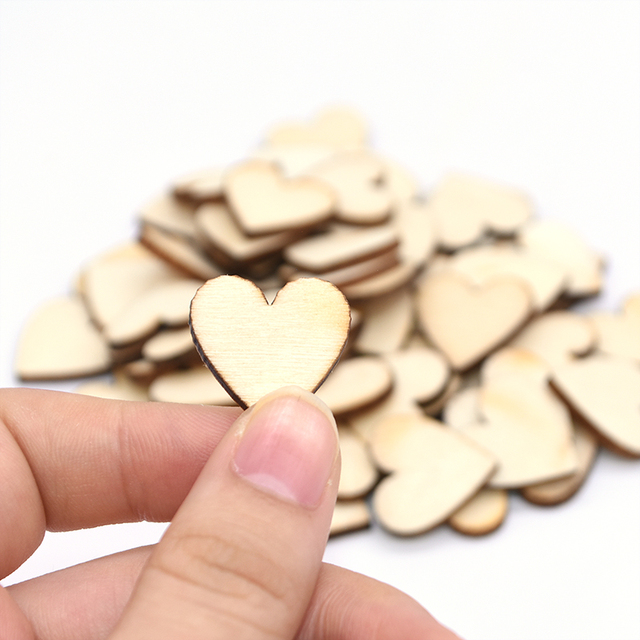 Wooden Mini Cute Love Heart/Star/Round Shape Wedding Table Scatter Decor Unfinished Wooden Crafts Wedding Ornaments 6