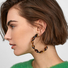 Za 2020 Boho Acrylic Acetate Hoop Earrings for Women Big Fashion Leopard Circular Cc Statement Earrings Female Jewelry  New