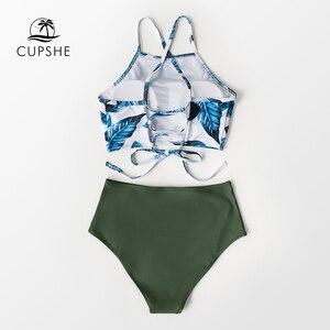 Image 5 - Cupshe folhas de chá de ervas de cintura alta conjuntos de biquíni verão sexy rendas até tanque maiô 2020 senhoras praia maiô