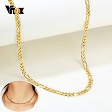 Vnox Gold Farbe Figaro Kette Halsketten für Frauen 5 MM Breit Kubanischen Curb Link Kette Geschenke für Sie Schmuck