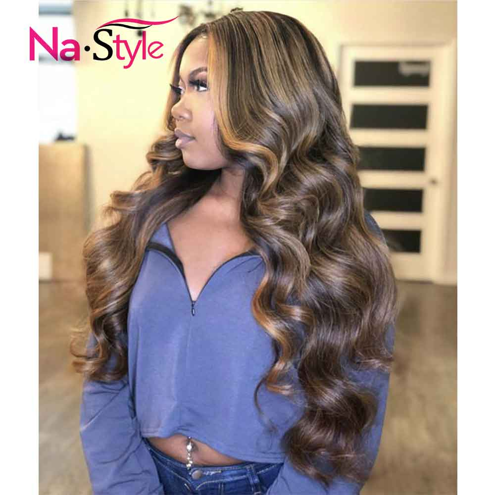 Highlight Wig Brown Ombre Lace Front Wig 13x6 Colored Human Hair Wigs Body Wave 360 Lace Frontal Wig Glueless Full Lace Wigs