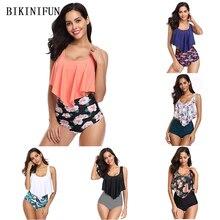 New Sexy Floral Print Bikini Women Swimsuit Tummy Control Bathing Suit S-2XL Girl High Waist Swimwear Double Layers Set