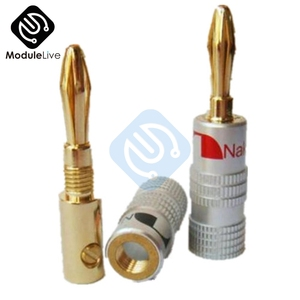 24K Gold Plated For Nakamichi Speaker Banana Plug Pure Copper Audio Jack Connector