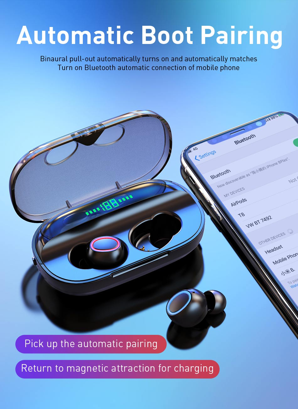 X1 TWS 5.0 Bluetooth Headphone 3D Stereo Wireless Earphone Dual Mic LED Digital Power Bank Support iOS/Android Phones 2000 mAh