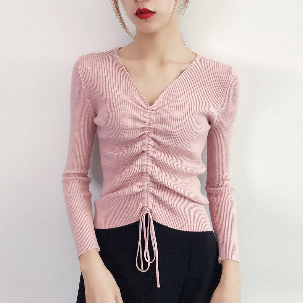 Women's Knitted Sweater Women Casual V-neck Tops Drawstring High Elastic Sweater Bottoming Shirt Women Cardigan Cotton 2020