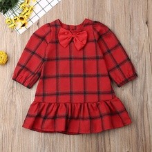 Baby Girls Cute Long Sleeve Autumn Casual Plaid Print Dresses Wiith Bowknot Kids Pageant Children\'s Princess Dresses children s dresses new girls dresses printed rural children s beach dresses holiday wind factory direct sales spot