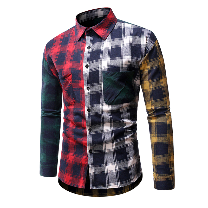 Casual Men Plaid Shirt Spring Autumn Cotton Shirt Men Dress Shirts Fashion Long Sleeve Slim Fit Chemise Homme Social Male Shirt