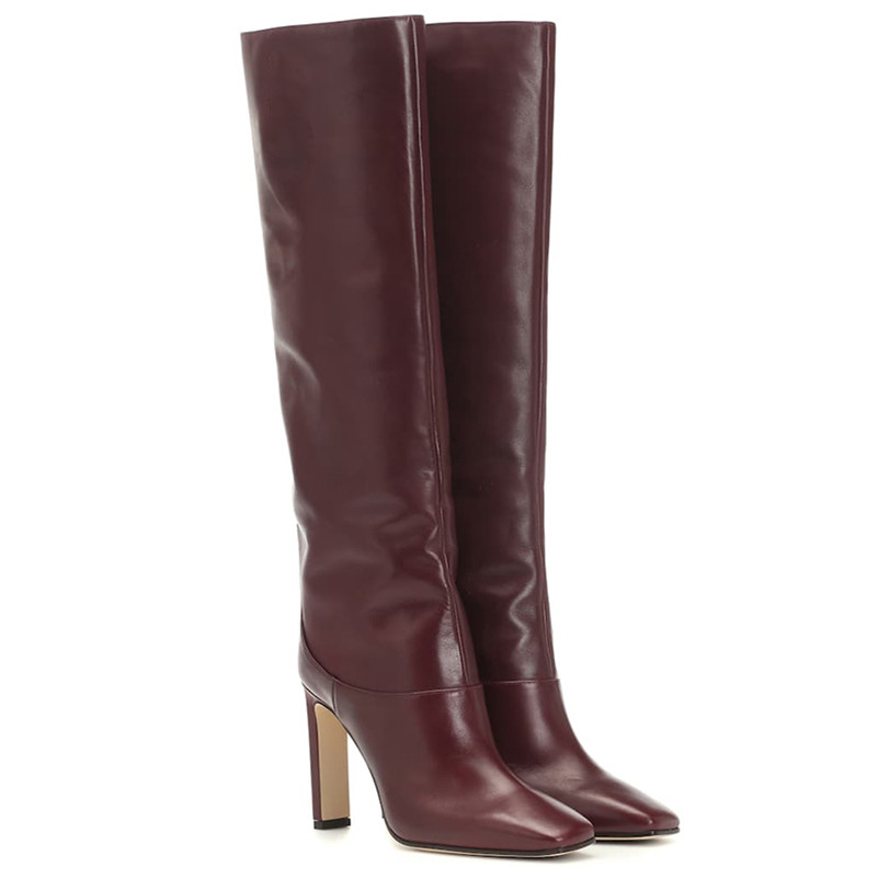Image 4 - FEDONAS Fashion Women Knee High Boots Autumn Winter Warm Party Shoes Woman Square Toe High Heeled Motorcycle Boots Long Shoes-in Knee-High Boots from Shoes