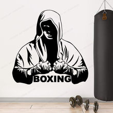 Mode Boksen Muur Sticker Vinyl Voor Fitness Kamer Art Gym Decor Verwisselbare Muur Art Mural HJ303(China)