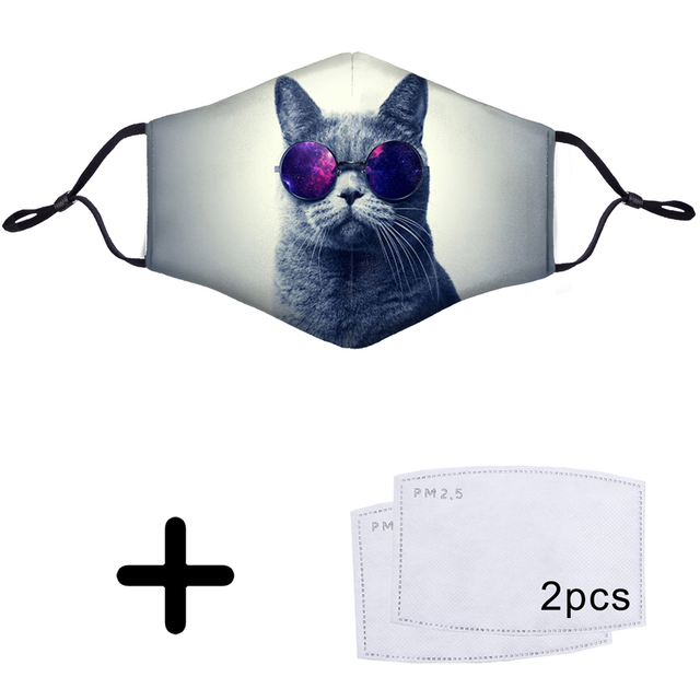 Cat Cool Cute Kawaii Funny 3D Face Mask Mouth PM2.5 Filter Reusable  Anti Dust Dustproof Half Bacteria Proof Flu Masks 1