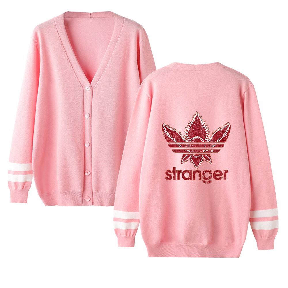 New Female Sweater Stranger Things Autumn Streetwear Cardigan Sweater Casual V-Neck Long Sleeve Knit Unisex Sweater Women Coat
