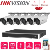 4K Network 8 CH Hikvision Nvr Video Recorder With 6 Pcs 4MP Waterproof Ip Camera Night Vision CCTV Security System poe Kits
