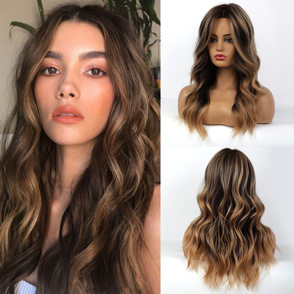 JONRENAU Syntheic Brown Ombre Highlights Wig For Black White Women Medium Length Natural Wave Hair  Wigs Heat Resistant Fiber