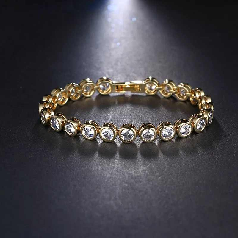T997 Fashion 18K Gold Plated Tennis bracelet Round 5A NSCD Stone Bracelet Bangles For Women hip hop jewelry