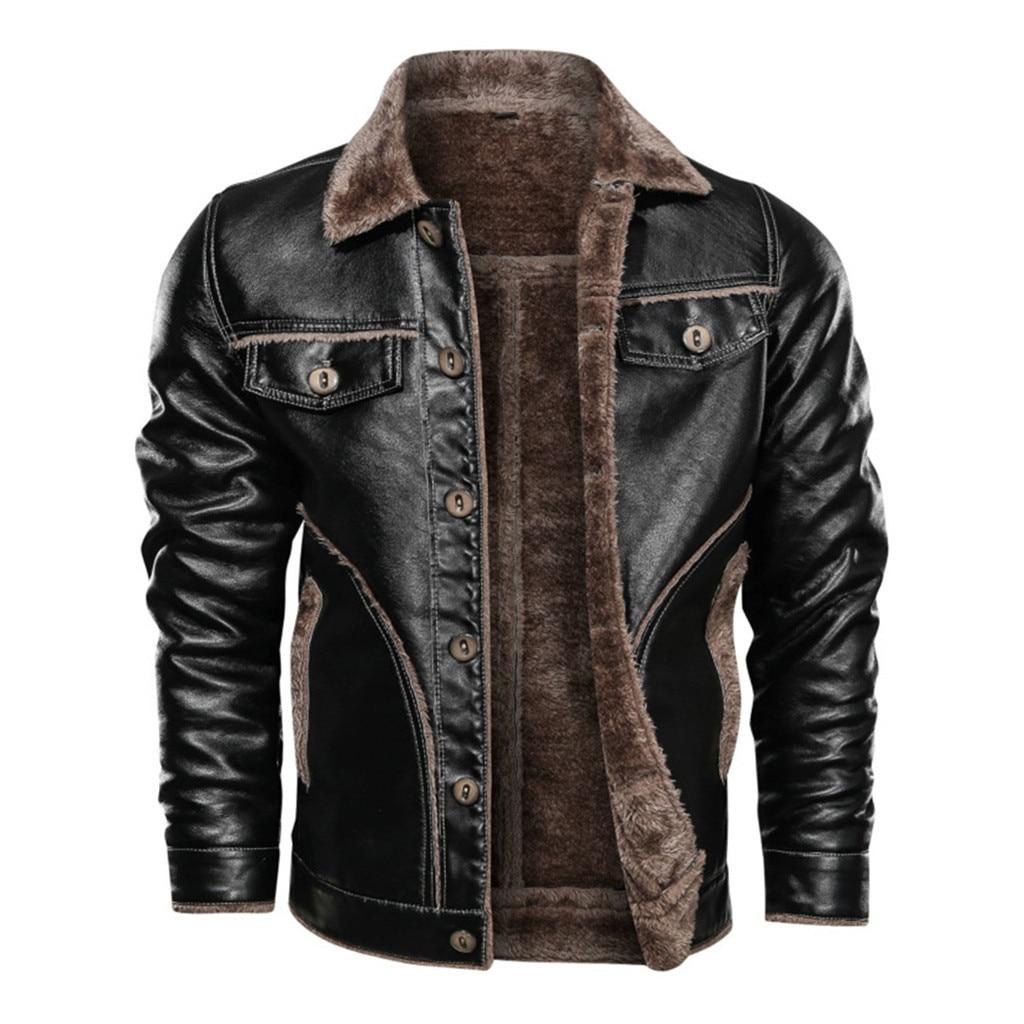 Men's Jackets Winter Turndown Neck Fashion Solid Leather Thick Warm Wool Jacket Streetwear Coat Windproof Outwear Coat L30107