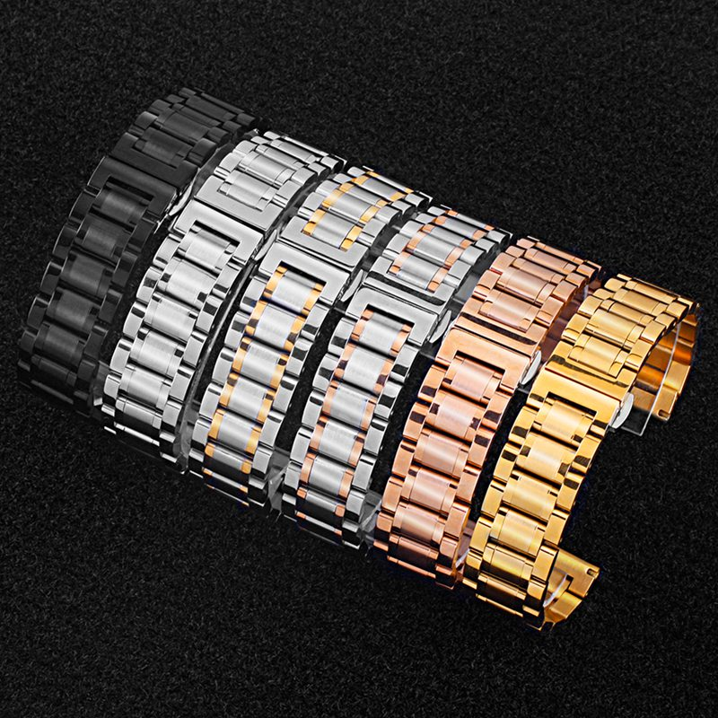 Stainless Steel Watch Band Push Button Clasp Bracelet Wristband Wristwatch Strap Replacement Accessories 18-24mm